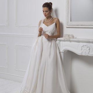 Vestito da sposa scollo a v con spalline sottili