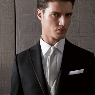 Cravatta sposo grigio perla