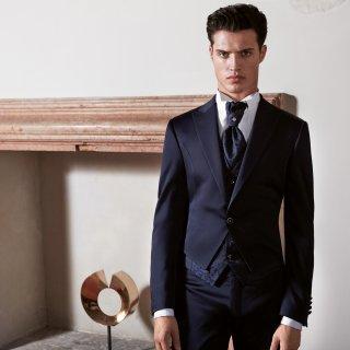 Cravatta sposo plastron blu